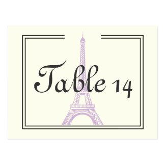 Paris wedding purple Eiffel Tower table number Postcard