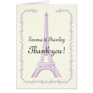 Paris wedding purple Eiffel Tower Thank You Card