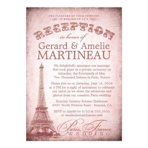 Paris Wedding Reception Only Invitation 5 X 7 Invitation Card