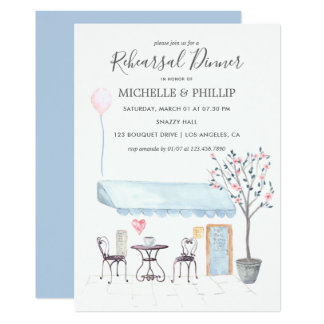 Paris Wedding Rehearsal Dinner watercolor floral Card
