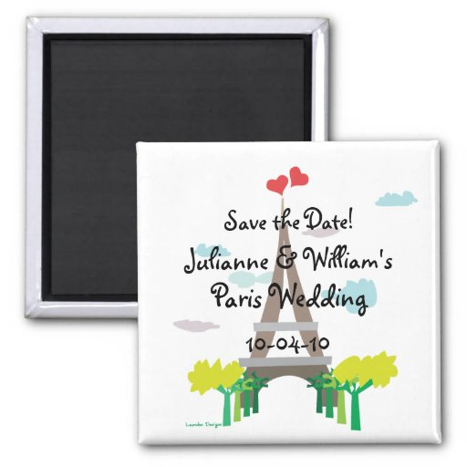 Paris Wedding Save the Date Magnet
