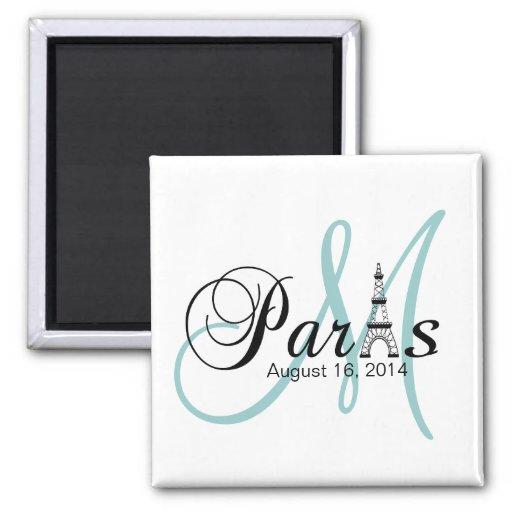 Paris Wedding Save the Date Monogram Magnets