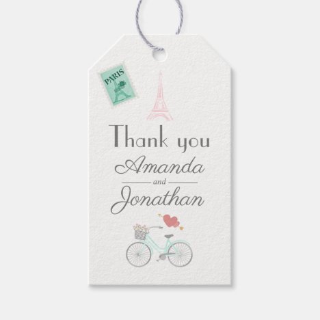 Paris Wedding Thank You Guest Gift Tags
