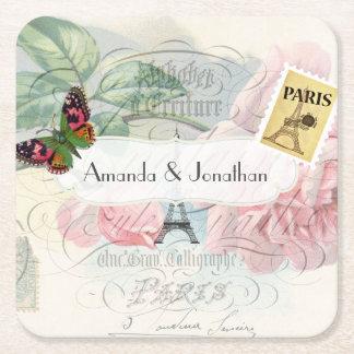 Paris Wedding Vintage Shabby-Chic Pink Rose Custom Square Paper Coaster