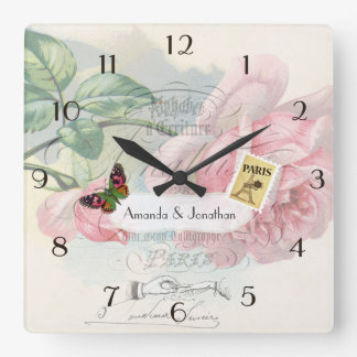 Paris Wedding Vintage Shabby-Chic Pink Rose Custom Square Wall Clock