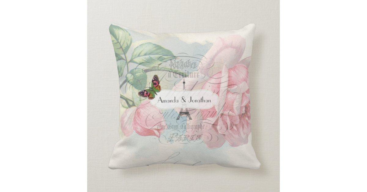 Shabby Chic Pink Decorative Pillows : Paris Wedding Vintage Shabby-Chic Pink Rose Custom Throw Pillow Zazzle