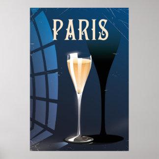 Paris wine drink vintage style travel poster