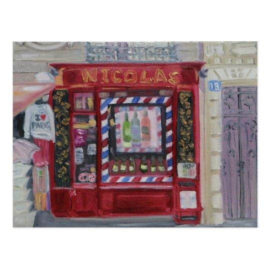 Paris Wine Shop Postcard