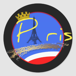 Paris with Crown of the City - Stickers Round Stickers