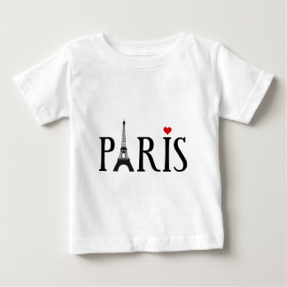 Paris with Eiffel tower and red heart Baby T-Shirt
