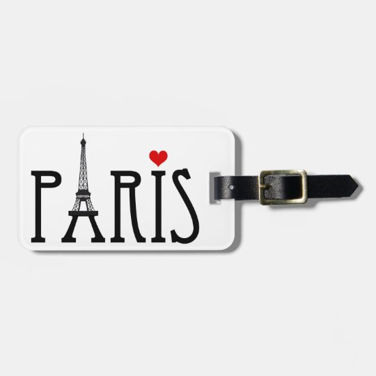 Paris with Eiffel tower and red heart Bag Tag