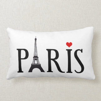 Paris with Eiffel tower and red heart Pillows