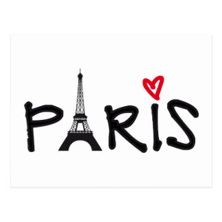 Paris with Eiffel tower and red heart Postcard