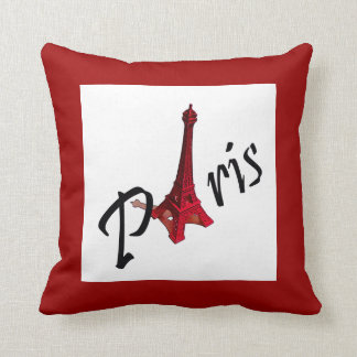 Paris with Eiffel tower on red background Throw Pillows