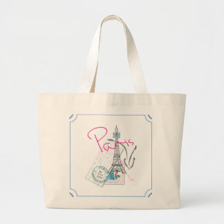 """""""Paris with love and Eiffel Tower"""" Large Tote Bag"""