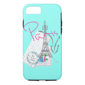 """""""Paris with love"""" Eiffel+tower and Letter iPhone 8/7 Case"""
