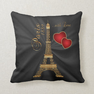 Paris with Love in Metallic Gold Throw Pillow