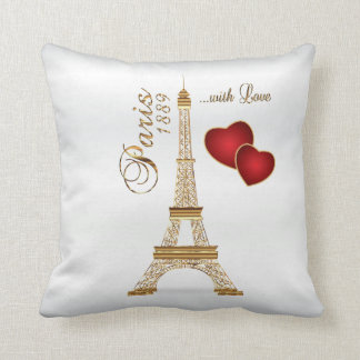 Paris with Love in Metallic Gold & White Satin Throw Pillow