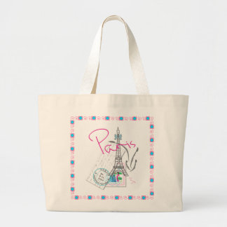 Paris with love large tote bag