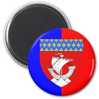 Paris With Shield, France 2 Inch Round Magnet