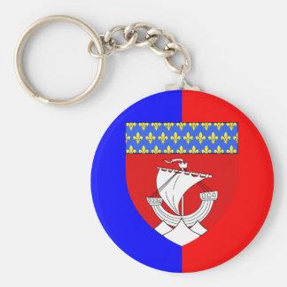 Paris With Shield, France Basic Round Button Keychain