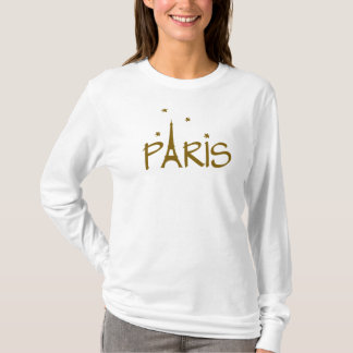 paris with twinkling stars in brown text T-Shirt