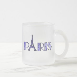 Paris Word Art From Vintage 1889 Map 10 Oz Frosted Glass Coffee Mug