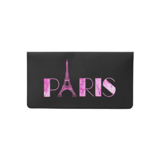 Paris Word Art From Vintage 1889 Map Checkbook Cover