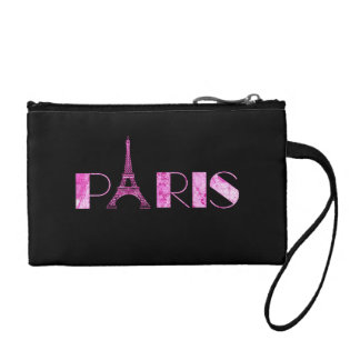 Paris Word Art From Vintage 1889 Map Coin Purse