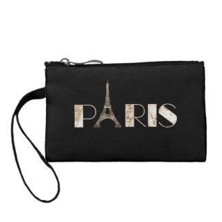 Paris Word Art From Vintage 1889 Map Coin Wallet