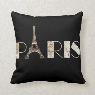 Paris Word Art From Vintage 1889 Map Throw Pillow