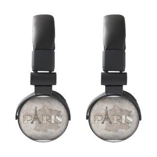 Paris Word Art From Vintage Map Headphones
