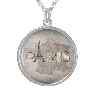 Paris Word Art From Vintage Map Sterling Silver Necklace