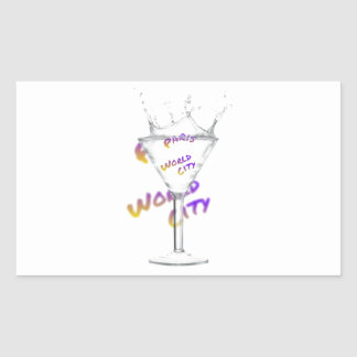 Paris world city, text in drink Glass Rectangular Sticker