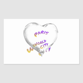 Paris world city, Water Heart Rectangular Sticker