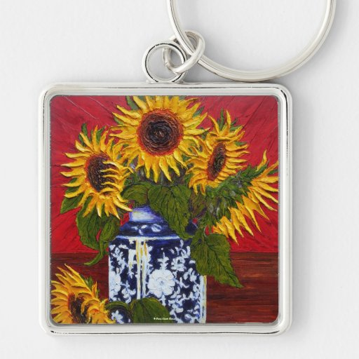 Paris' Yellow Sunflower on Red Background Key Chains