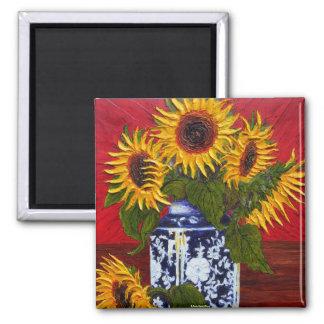 Paris' Yellow Sunflower on Red Background Fridge Magnet