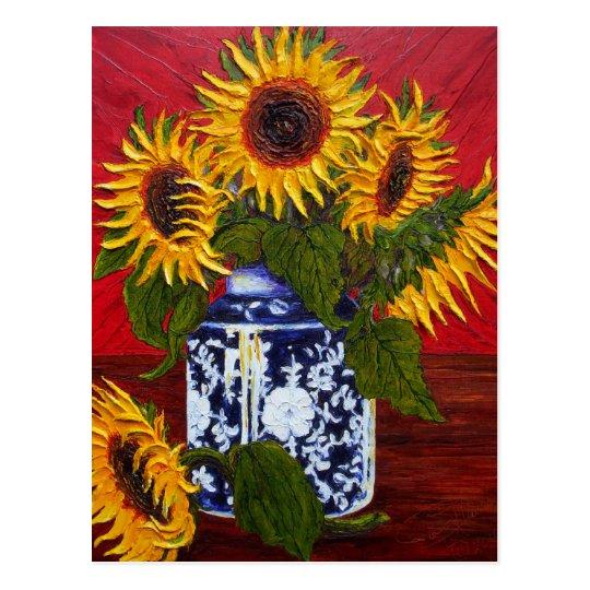 Paris' Yellow Sunflower on Red Background Postcard
