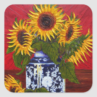 Paris' Yellow Sunflower on Red Background Square Sticker