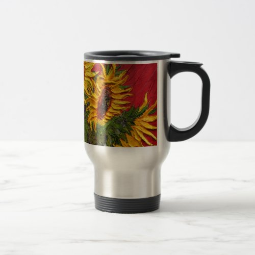 Paris' Yellow Sunflower on Red Background Travel Mug