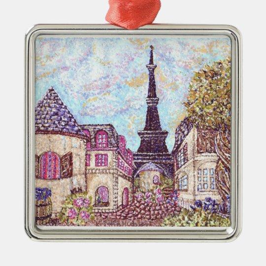 ParisCityscape pointillism ornament Kristie Hubler