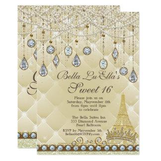 ParisDiamond and Pearls Birthday Party Invitations