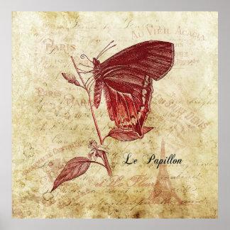 Parisenne Le Papillon y arte del vintage de Fleur Póster