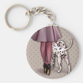 Parisian and its Dalmatian in walk Basic Round Button Keychain