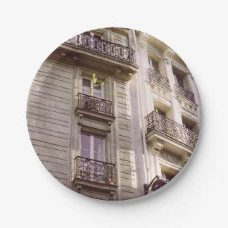 Parisian Architecture, Pink Pastel Photograph Paper Plate