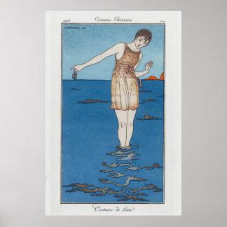 parisian bathing suit poster