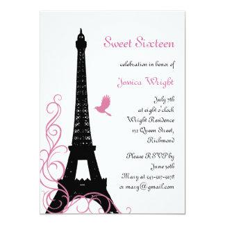 Parisian Birthday Invitation (black and white)