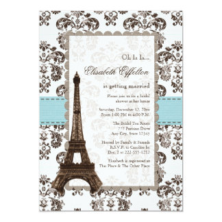 Parisian Blue Bridal Shower Invitations