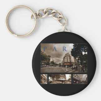 Parisian Cafe Scene Basic Round Button Keychain