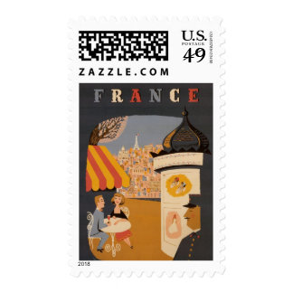 Parisian Cafe Travel Poster Custom Postage
